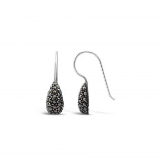 STERLING SILVER AND CRYSTAL MARCASITE EARRINGS