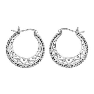 STERLING SILVER MANDALA DISC HOOPS